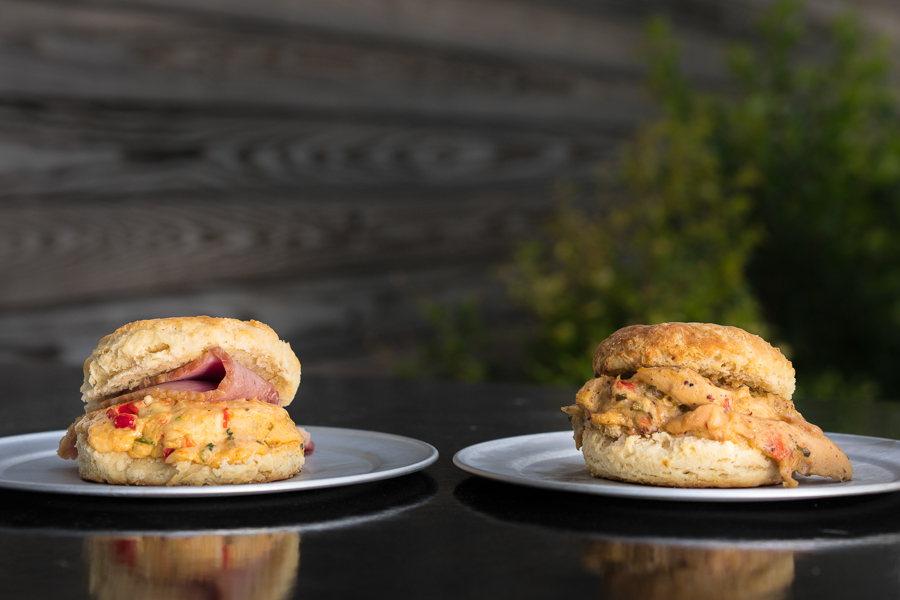 Biscuit with pimento and ham. Biscuit with chicken and peppers.