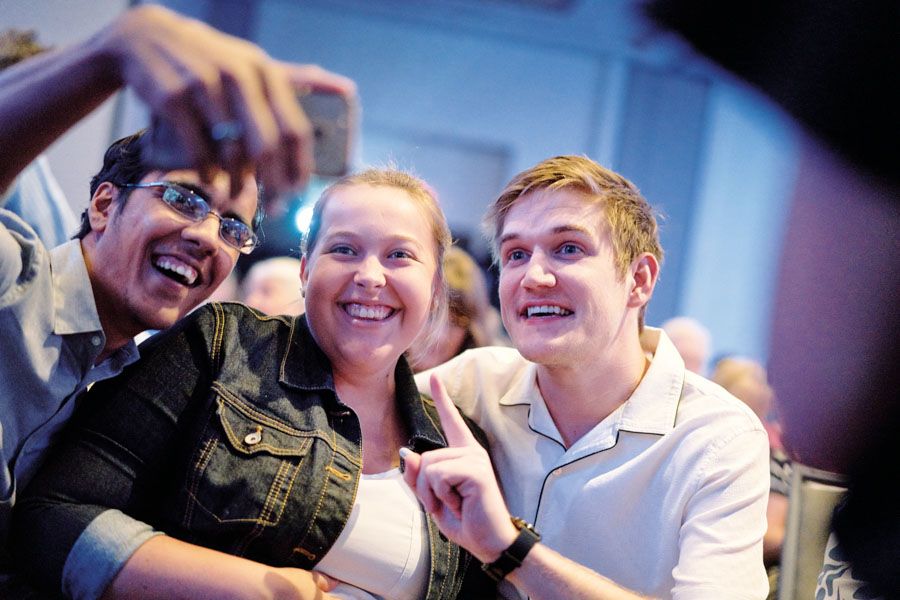 Comedian Bo Burnham poses for a selfie with fans at the screening of his directorial debut, Eighth Grade. Photo by Wyatt Kostygan.