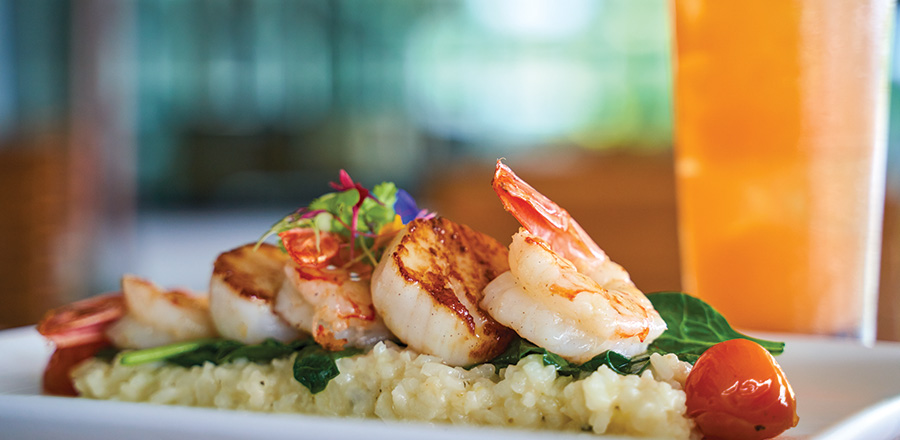 Key West shrimp and scallop with lemon risotto, local greens, lemon beurre blanc and tomato confit.