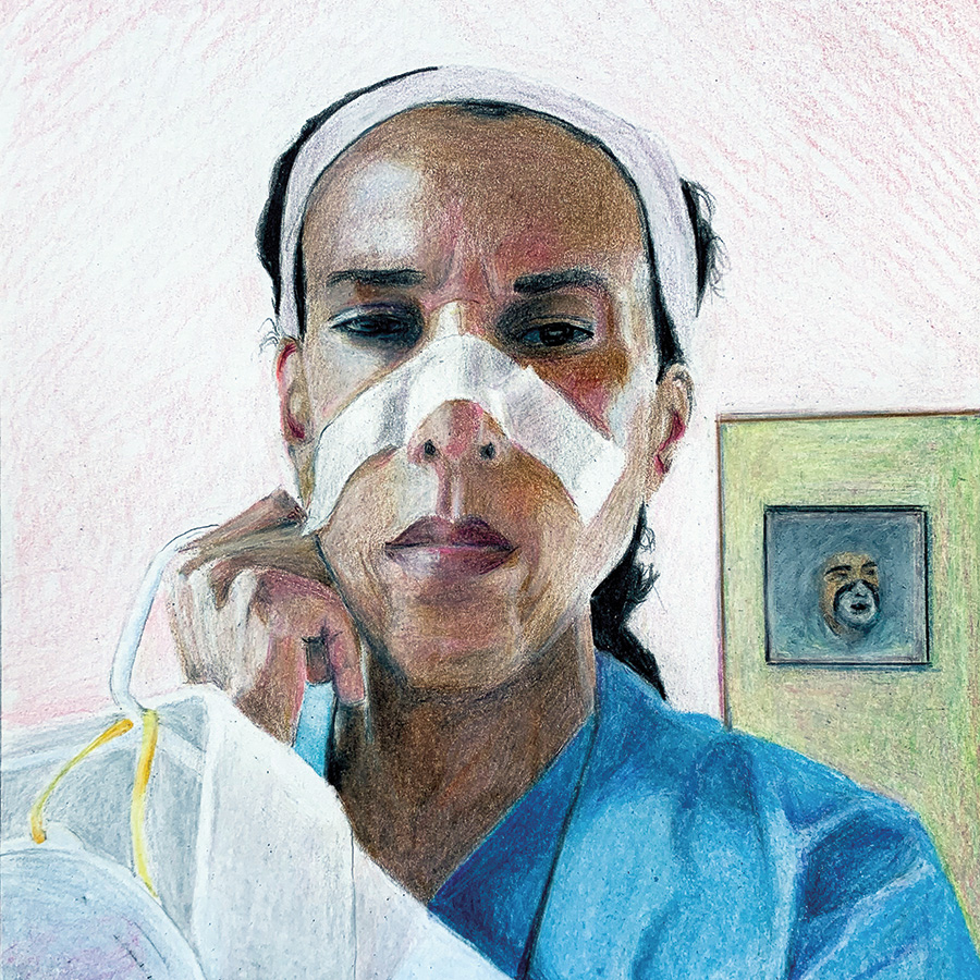 On Lisa's War,  by artist Mike Solomon. A practicing physician, Dr. Merritt can be seen here in her PPE. Artwork by Mike Solomon.