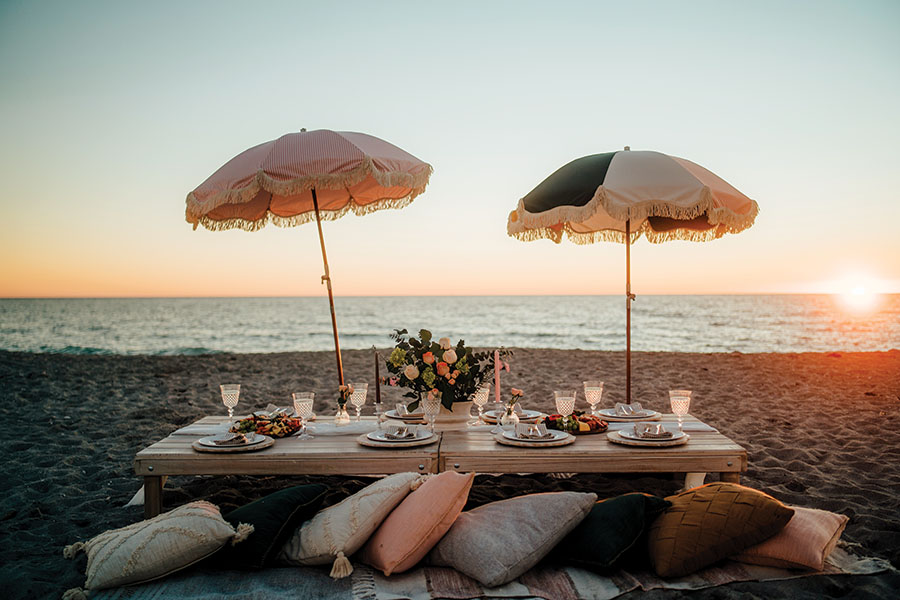 Wooden grazing boards from Charcuterie & Cheese and Australian beach umbrellas from Business and Pleasure Co. Photography by Wyatt Kostygan.